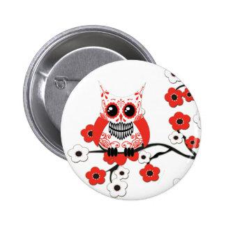 Botón blanco rojo del búho de las flores de cerezo pins
