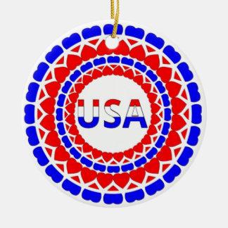 Botón blanco y azul de USA.Red de los corazones Adorno Navideño Redondo De Cerámica