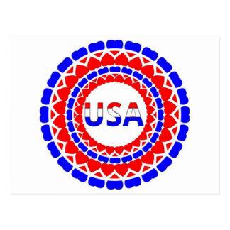 Botón blanco y azul de USA.Red de los corazones Postales