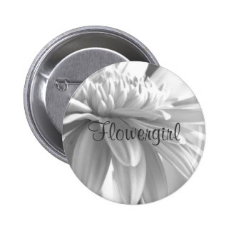 Botón blanco y negro de Flowergirl de la margarita Pin