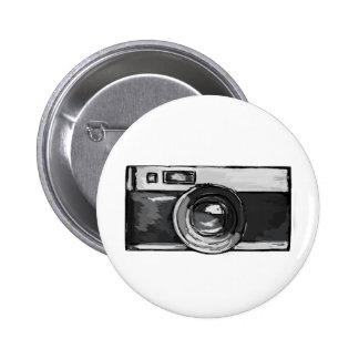 Botón blanco y negro de la cámara del vintage pin