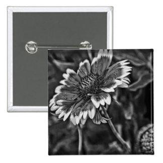 Botón blanco y negro de la flor pin cuadrado