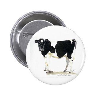 botón blanco y negro de la vaca pins
