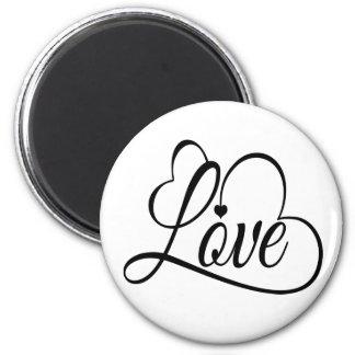 Botón blanco y negro del amor y de los corazones imán redondo 5 cm