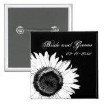 Botón blanco y negro del boda del girasol pins