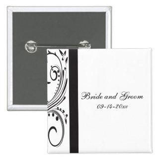 Botón blanco y negro del boda pin