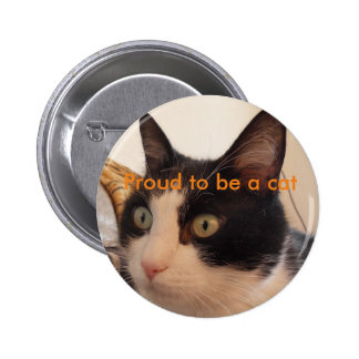 botón blanco y negro del gato orgulloso ser un pin redondo de 2 pulgadas