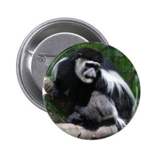 Botón blanco y negro del mono pins