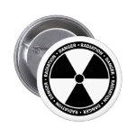 Botón blanco y negro del símbolo de la radiación pins