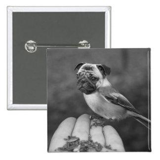 Botón blanco y negro lindo del pájaro del barro am pin