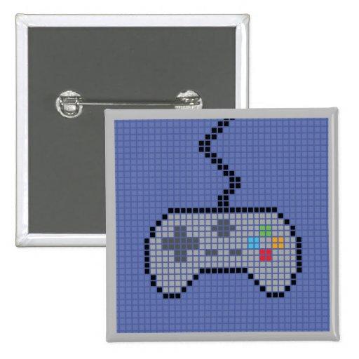 Botón Blocky cuadrado de Gamepad con el fondo azul Pins