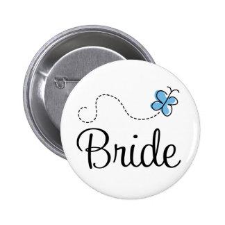Botón bonito del azul de la novia del día de boda pin