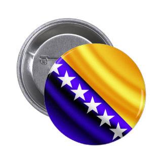 Botón bosnio del pinback de la bandera que agita pin redondo de 2 pulgadas