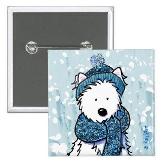 Botón brillante de Westie del invierno Pins