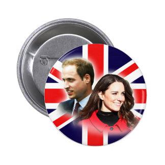 Botón británico de la bandera de Guillermo y de Pin Redondo De 2 Pulgadas