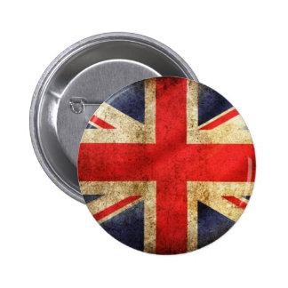 Botón británico de la bandera del Grunge centrado Pin Redondo De 2 Pulgadas