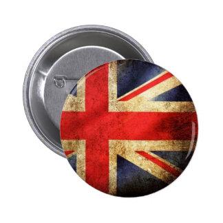 Botón británico de la bandera del Grunge Pin Redondo De 2 Pulgadas