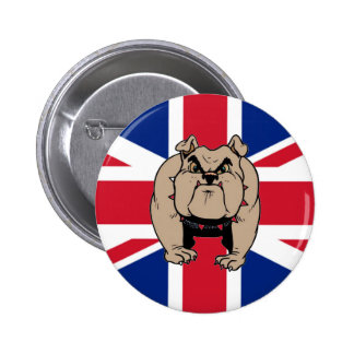 Botón BRITÁNICO del dogo de Union Jack Pin Redondo De 2 Pulgadas