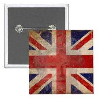 Botón BRITÁNICO sucio de la bandera con la reina E Pin Cuadrado