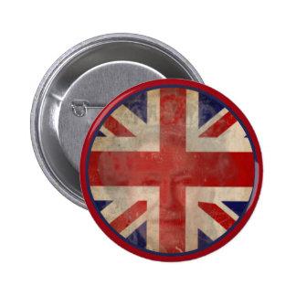 Botón BRITÁNICO sucio de la bandera con la reina E Pin Redondo De 2 Pulgadas
