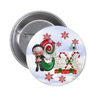 Botón C del navidad del monograma Pins