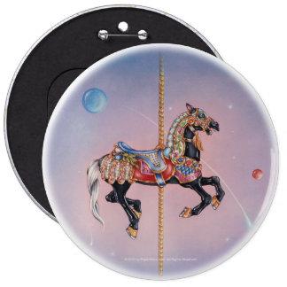 Botón - caballo 1 del carrusel de Petaluma Pin Redondo De 6 Pulgadas