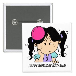 Botón cabelludo negro de encargo del cumpleaños de