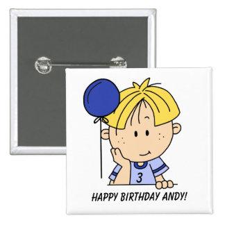 Botón cabelludo rubio de encargo del cumpleaños de pin cuadrado