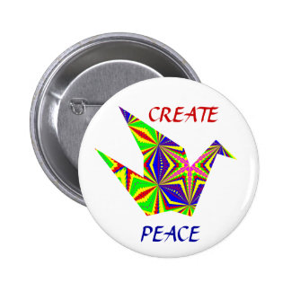 Botón caleidoscópico de la grúa de la paz pin