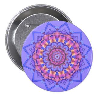 Botón caleidoscópico púrpura del medallón del pin redondo de 3 pulgadas