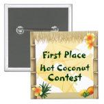 Botón caliente del premio del coco del primer pin cuadrado