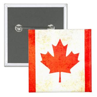 Botón canadiense de la bandera de la hoja de arce pin cuadrado