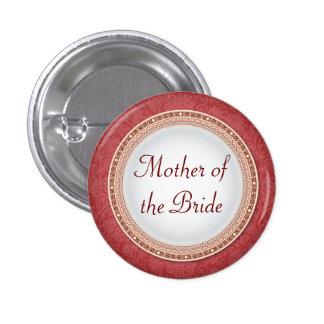 Botón carmesí barroco del papel del boda de la pin redondo de 1 pulgada