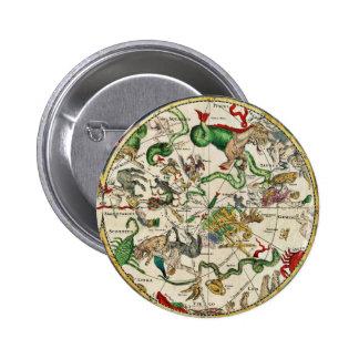 Botón CELESTIAL del MAPA Pin Redondo De 2 Pulgadas