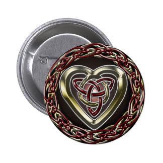Botón céltico del corazón pin redondo de 2 pulgadas