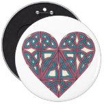Botón céltico del corazón pin redondo de 6 pulgadas
