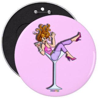 Botón - chica en un vidrio de Martini, rojo de Lil Pins