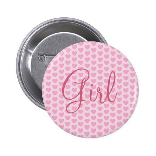 Botón: Chica rosado Pin Redondo 5 Cm