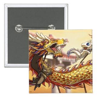 Botón chino del Año Nuevo de Dragonbros Pin Cuadrado