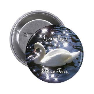 Botón chispeante del cisne pin redondo de 2 pulgadas