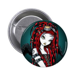 Botón cibernético del ángel del gótico del tatuaje pin redondo de 2 pulgadas
