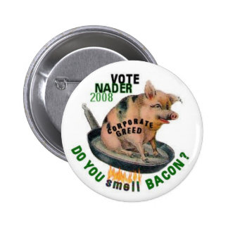 Botón codicioso del cerdo de Nader Pin Redondo De 2 Pulgadas