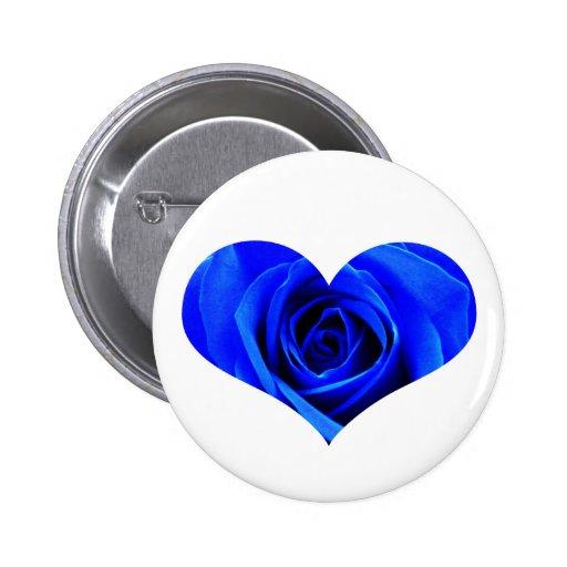Botón color de rosa azul del corazón pins