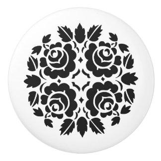 Botón color de rosa blanco y negro del cajón pomo de cerámica
