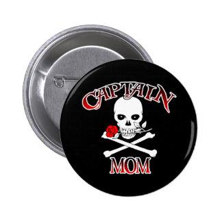 Botón (color de rosa) de capitán Mom Pins