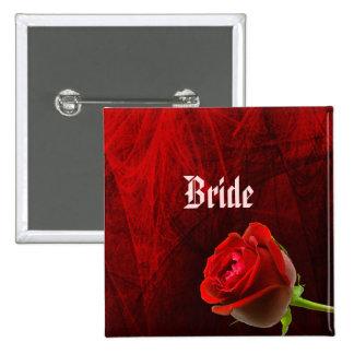 Botón color de rosa gótico de la novia pin