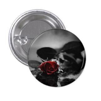 Botón color de rosa gótico rojo pin redondo de 1 pulgada