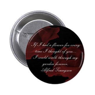 Botón color de rosa rojo oscuro pin redondo de 2 pulgadas