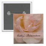 Botón color de rosa rosado de Quinceañera Pin