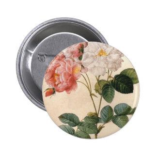 Botón color de rosa rosado del vintage pin